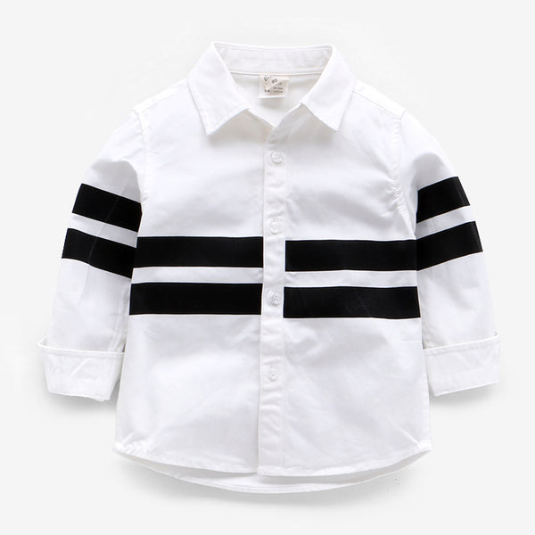 White Shirt With Black Stripes For Boys