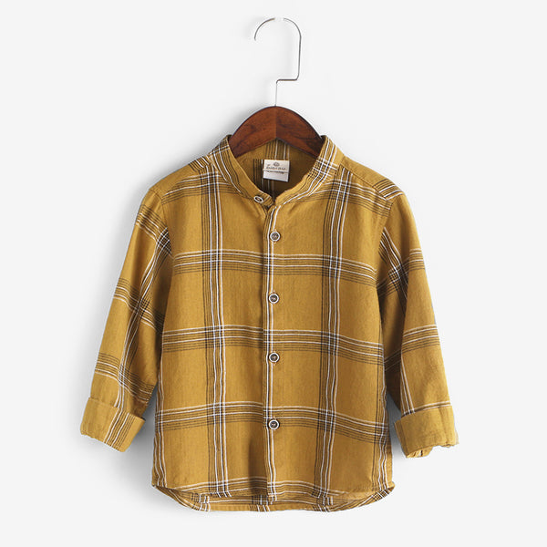 Checks Mandarin Collar Shirt For Boys