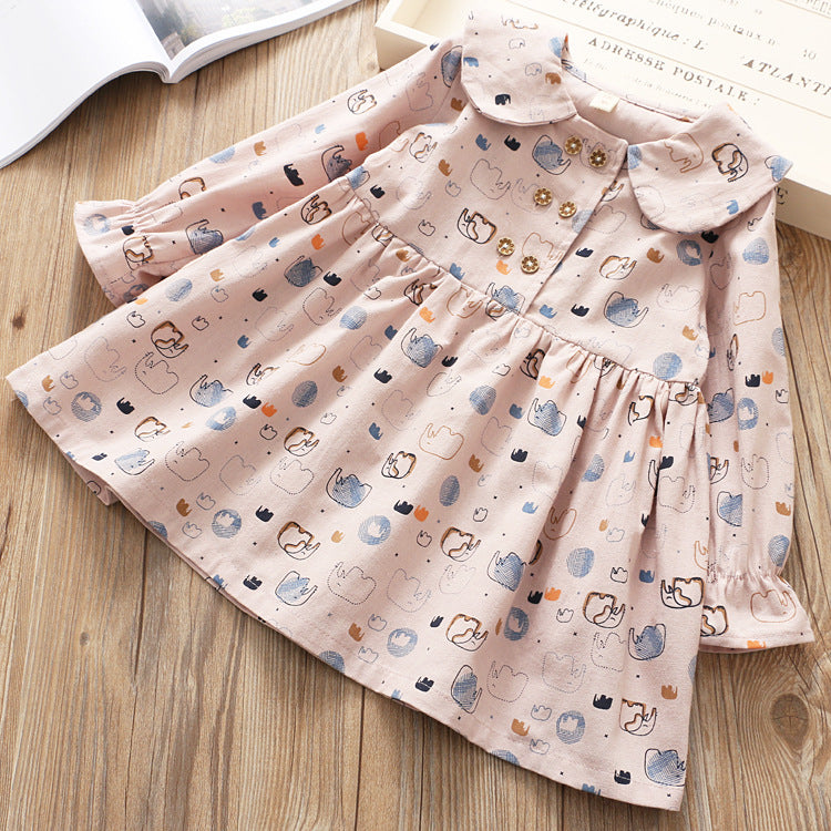 Elephant Printed Long Sleeves Doll Collar Dress