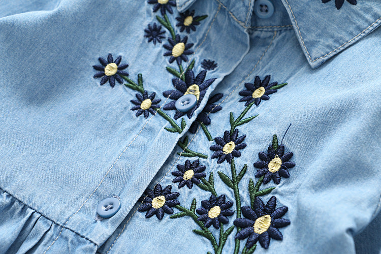 Embroidered Long Sleeve Denim Dress for Girls
