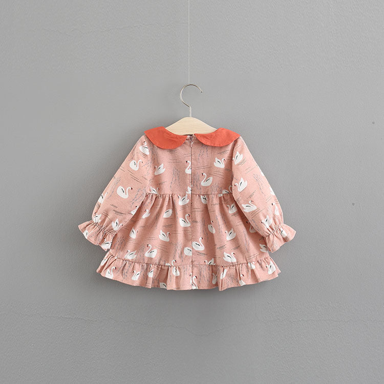 Flamingo Printed Long Sleeves Dress For Baby Girls