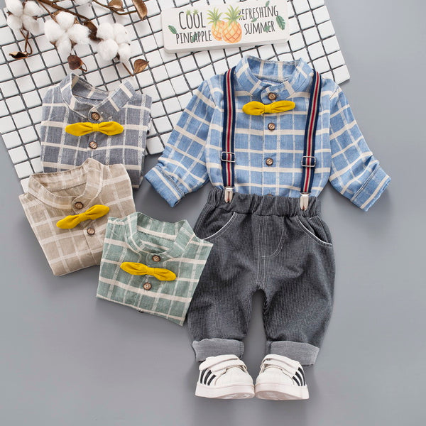Plaided Bow Shirt With Suspender Pant Set