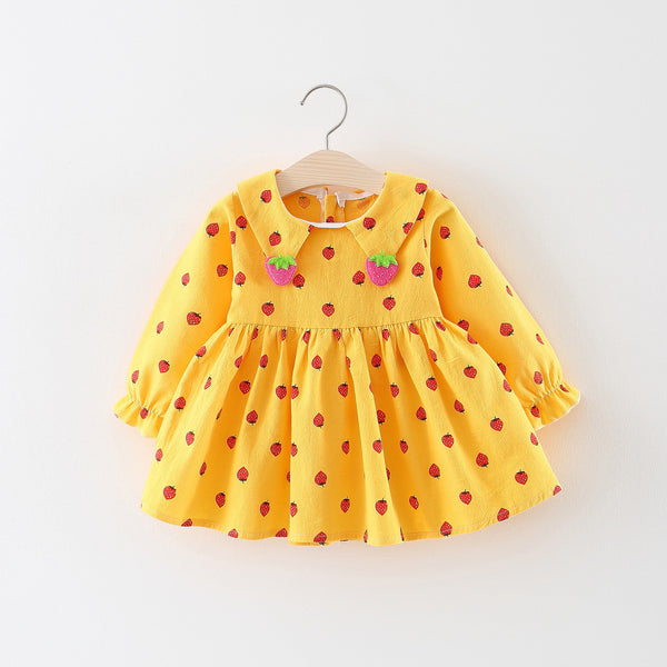 Strawberry Printed Long Sleeves Dress For Baby Girls