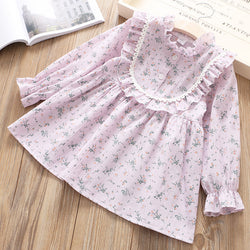 Plum Printed Long Sleeve Dress for Girls