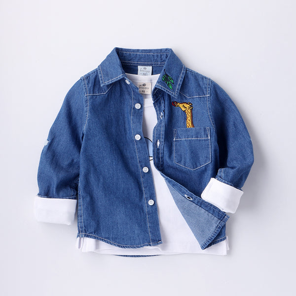 Denim Shirt With Giraffe Pocket