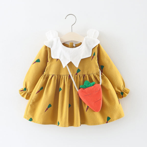 Carrot Printed Long Sleeves Dress For Baby Girls