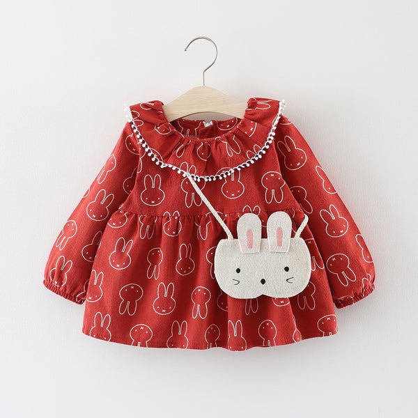 Bunny Printed Baby Girl Dress
