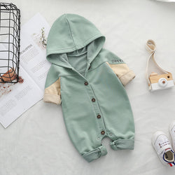 Hooded Jumpsuit With Patch On Back
