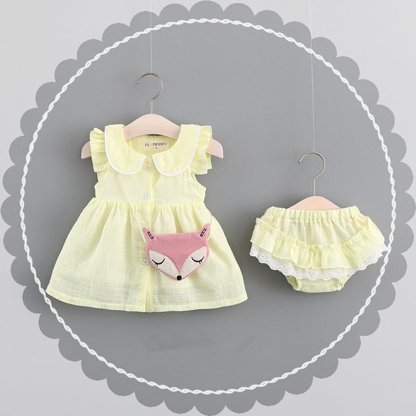 Doll Collar Fox Dress Plus Bloomer Set
