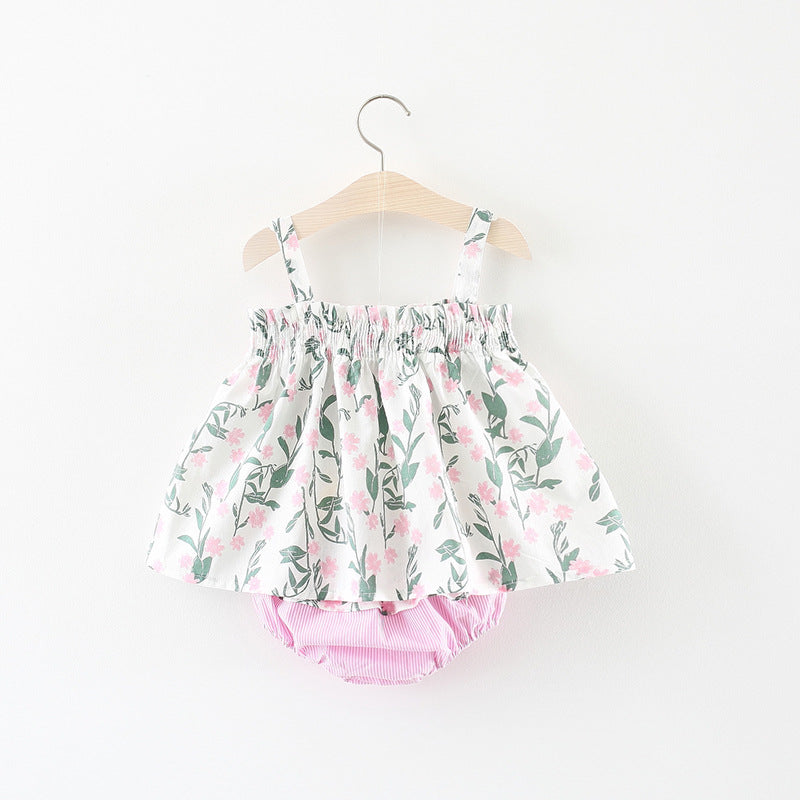 Bow Floral Dress Plus Striped Bloomers Set