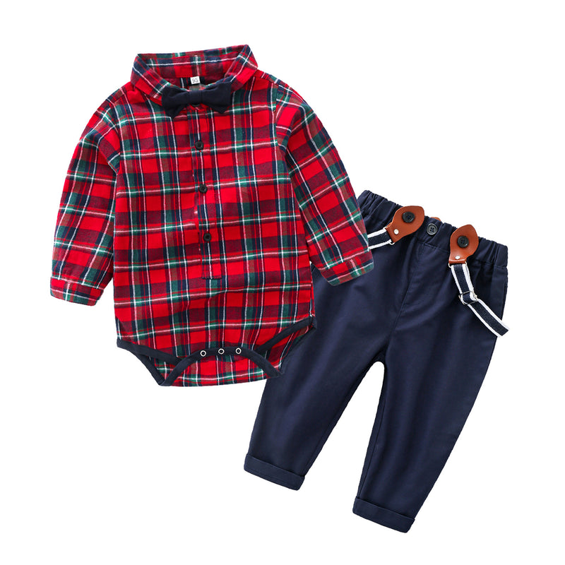 Bow Checks Shirt Romper Plus Suspender Pants