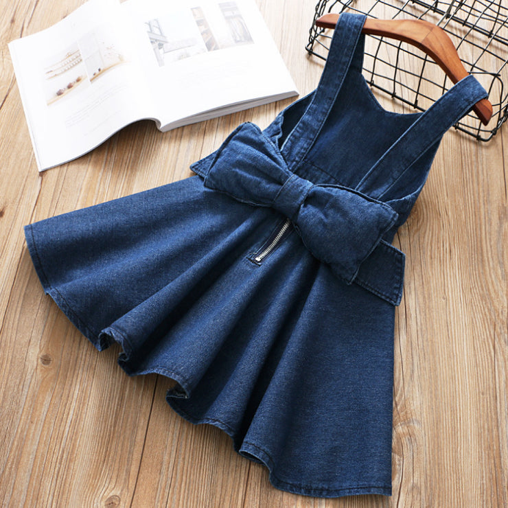 Bow Denim Dress For Girls