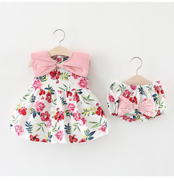 Bow Floral Print Bloomer Set