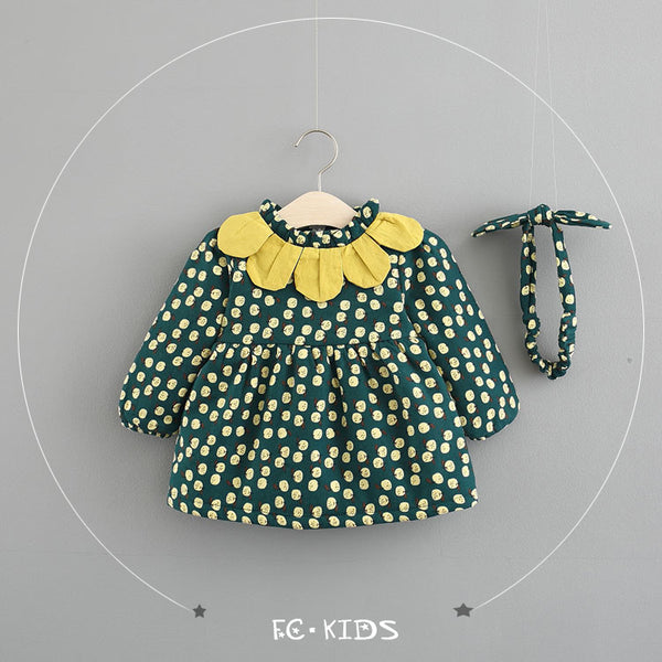 Polka Dots Fleece Dress With Headband