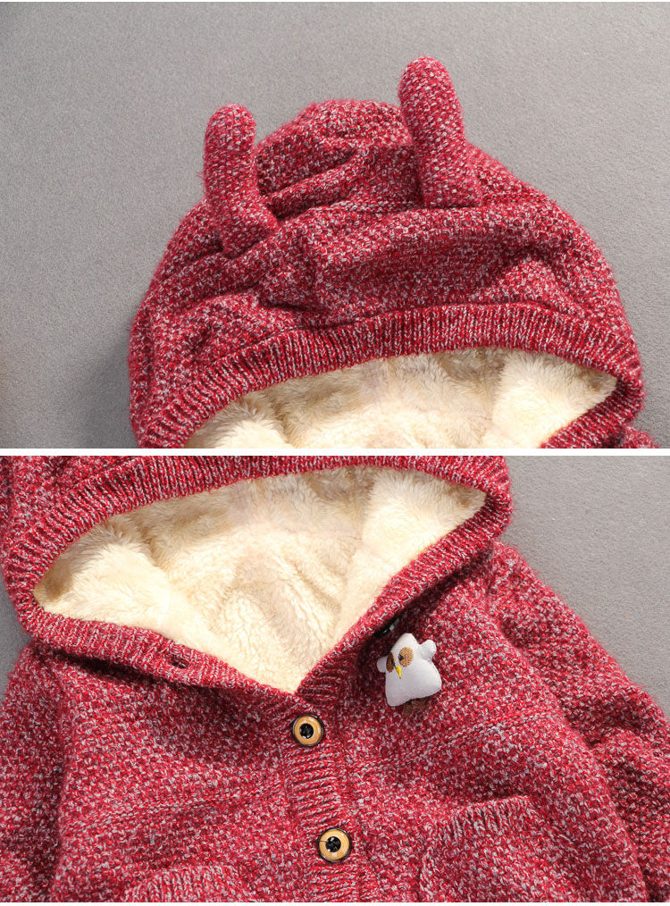 Winter Hooded Knitted Fleece Jacket