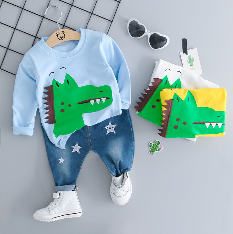 Dinosaur Pullover Plus Denim Set