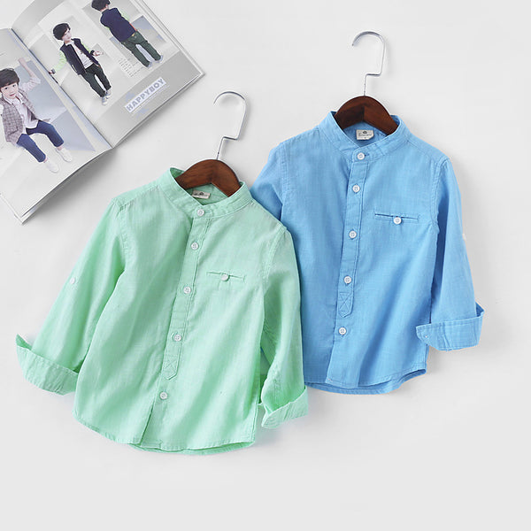 Plain Mandarin Collar Shirt For Boys