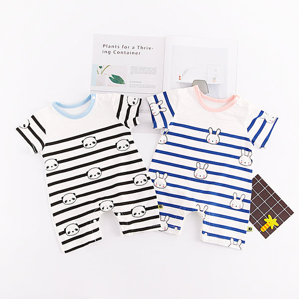 Half Sleeves Striped Summer Rompers