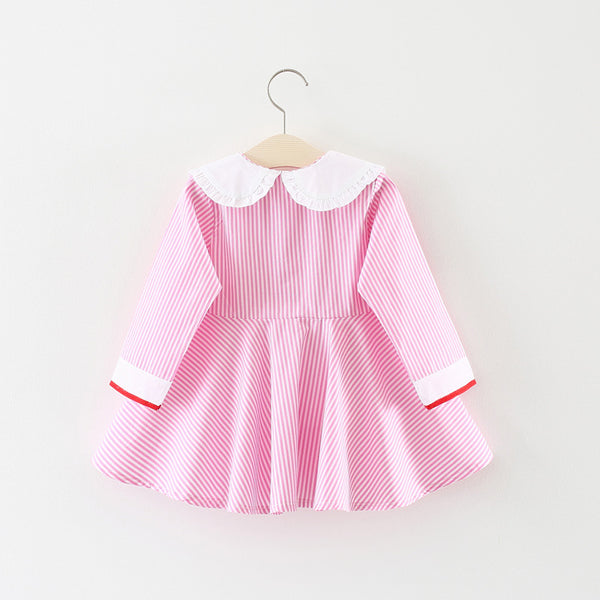Striped Buttoned Dress With Strawberry Embroidered Collar