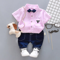 Striped Shirt with Bow Set