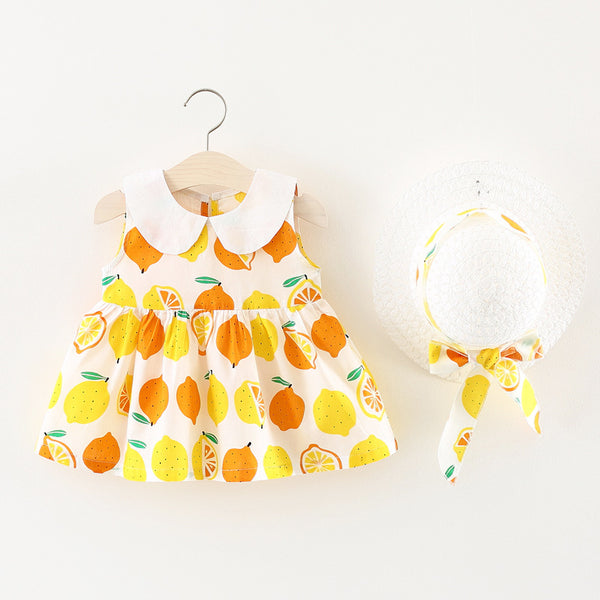 Lemon Printed Summer Dress With Hat