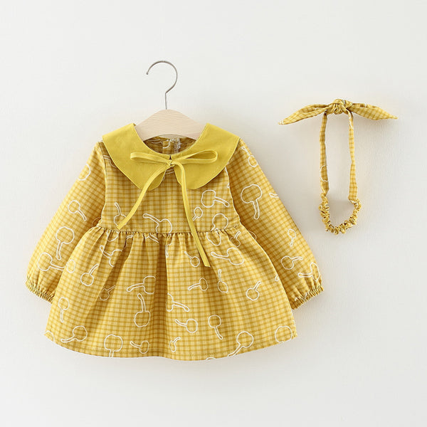 Plaided Printed Bow Collar Dress For Baby Girls