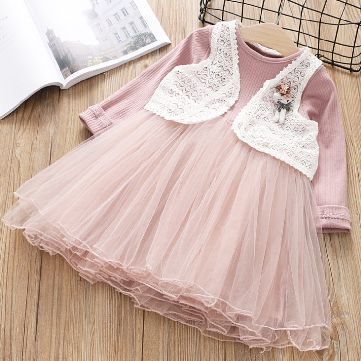 White Vest and Long Sleeve Pink Dress for Girls