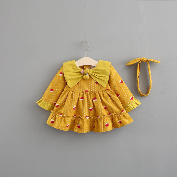Strawberry Printed Bow Collar Dress With Headband