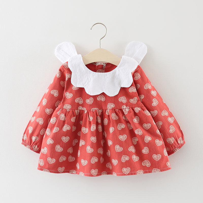 Heart Scribbled Baby Girl Dress