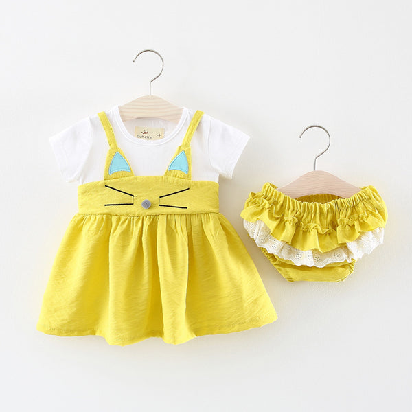 Cute Cat Bloomers Set For Baby Girls