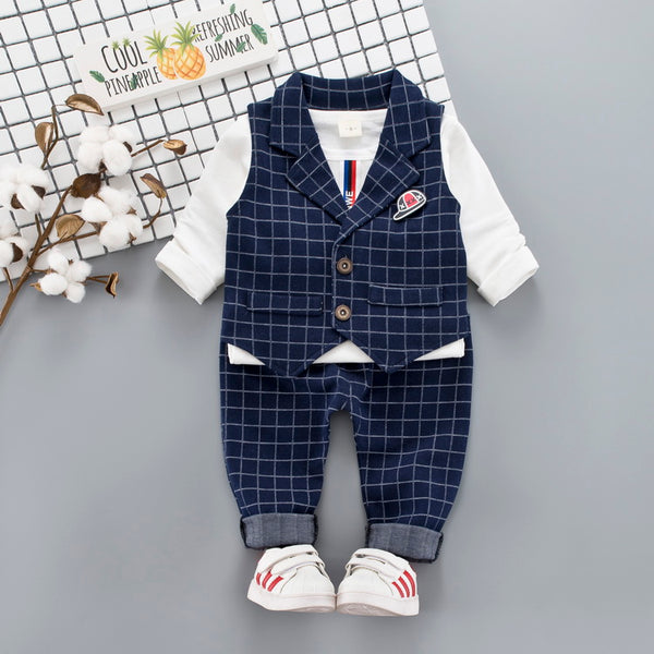 Plaided Waistcoat Set With Tshirt