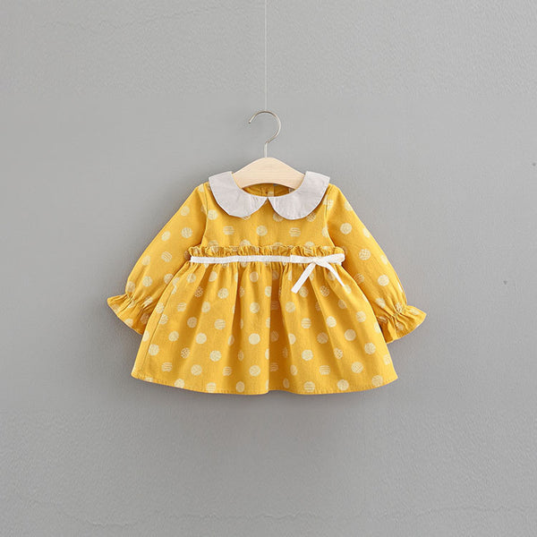 Polka Dots Doll Collar Dress For Baby Girls