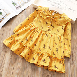 Ruffle Collar Printed Dress for Girls
