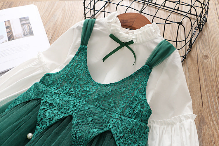 Pearl Lace Dress With Tshirt For Girls
