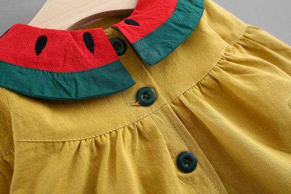 Watermelon Collar Buttoned Dress
