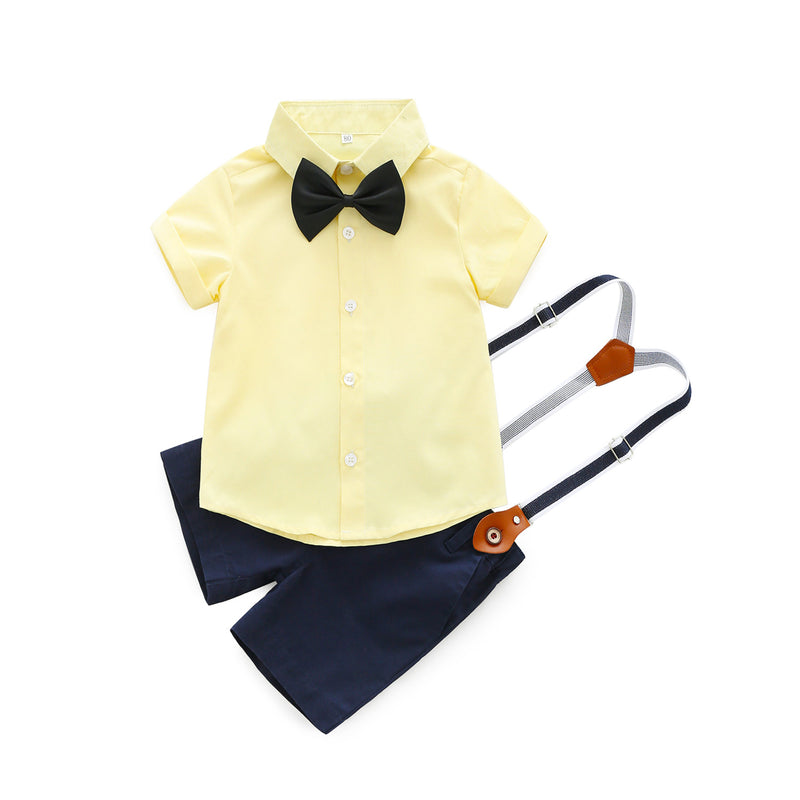 Solid Color Shirt With Bow And Suspender Shorts