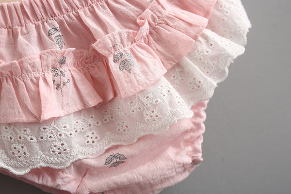 Doll Collar Buttoned Dress With Ruffles Bloomer Set