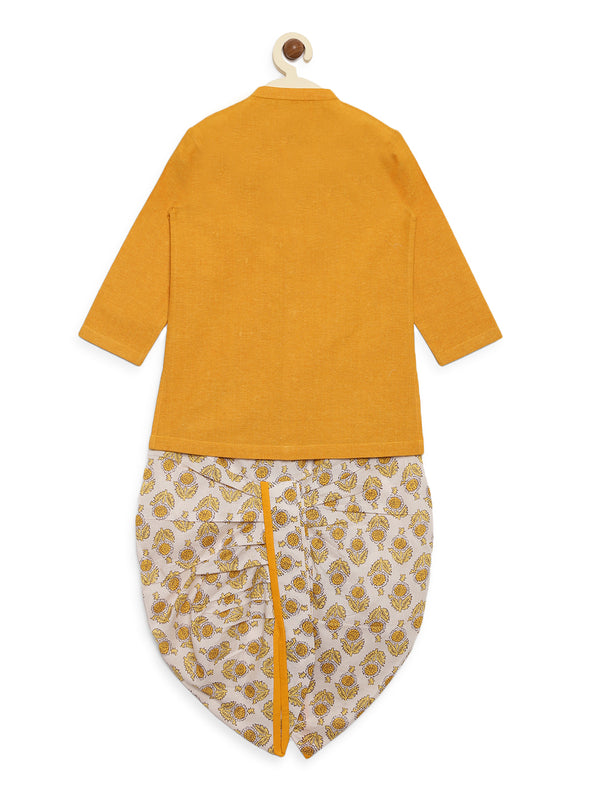 Mustard Yellow Elephant Kurta Dhoti Set
