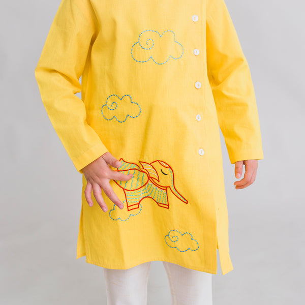 Tiber Taber Boy Kurta Set Gond Yellow Elephant
