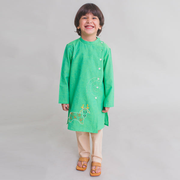 Tiber Taber Boy Kurta Set Gond Green Cow