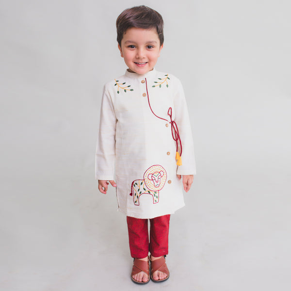 Tiber Taber Boy Kurta Set Gond White Lion