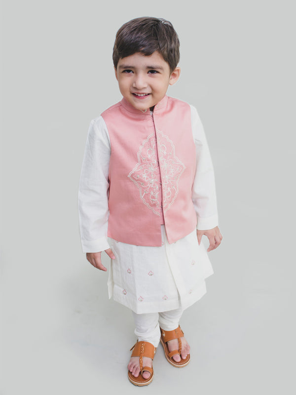 Tiber Taber Boy Bundi Kurta Set White Pink Persian