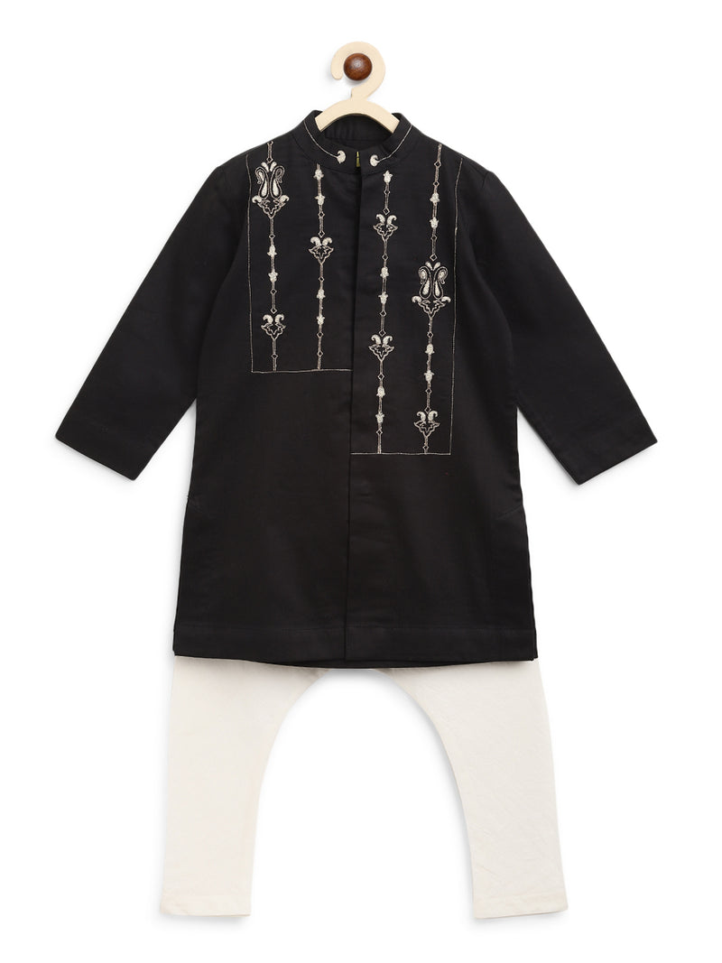 Tiber Taber Boy Black Persian Kurta Set