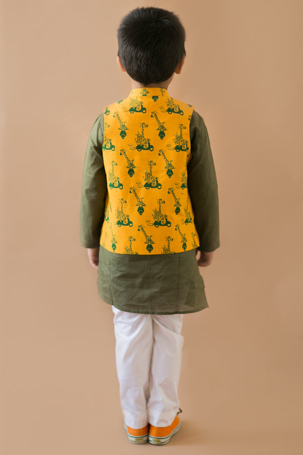 3 Pc Mustard Comic Jungle Print Nehru Jacket Kurta Set