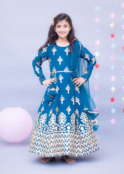 Teal Blue Gota Embroidery Anarkali