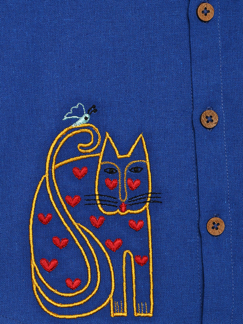 Blue Butterfly Cat Shirt
