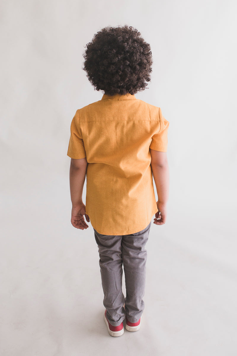 Mustard Collar Cat Shirt