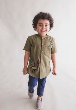 Olive Rooster Shirt