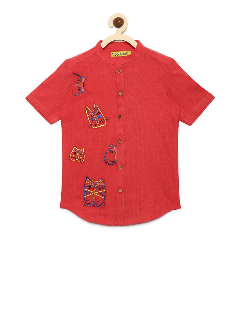 Tiber Taber Boys Shirt Peach Cat Face