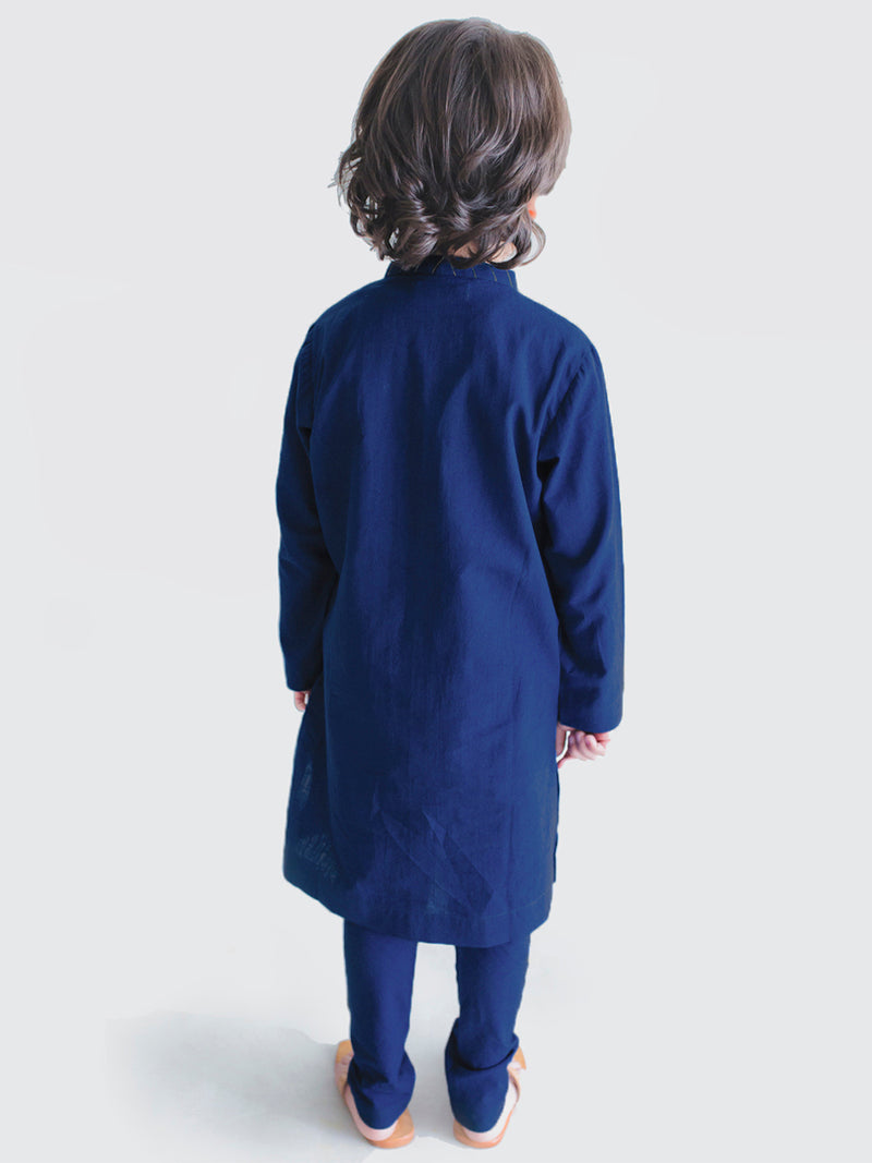 Bundi Kurta Set  Blue Jacquard